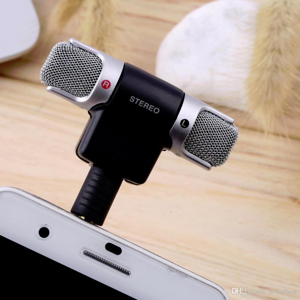 Hochempfindliches professionelles 3,5-MM-ECM-DS70P-tragbares Mini-Mikrofon Digitales Stereomikrofon Dual-Soundtrack für Recorder-PC-Handy-Macbook