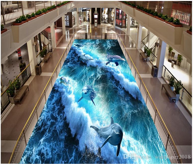Floor wallpaper for kids room Naked eye 3D floor decorative painting self adhesive wallpaper