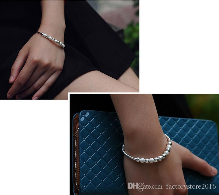 Top Quality Transport Beads Bracelets 925 Sterling Silver Bangles Women Charm White Gold Plated Wedding Bracelets Jewelry Gift