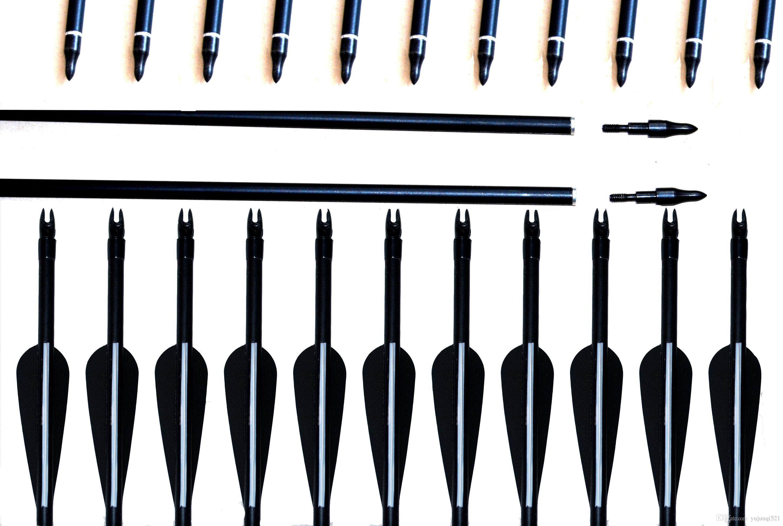 """12x 28/"""" Spine500 Carbon Arrow Black Vanes F Recurve//Compound Bow Archery Hunt"""