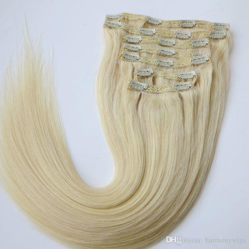 Grampo em Extensões Do Cabelo Cabelo Humano Brasileiro 20 22 polegadas 60 # / Platinum Blonde Extensões de Cabelo Em Linha Reta 260g 7 pçs / set