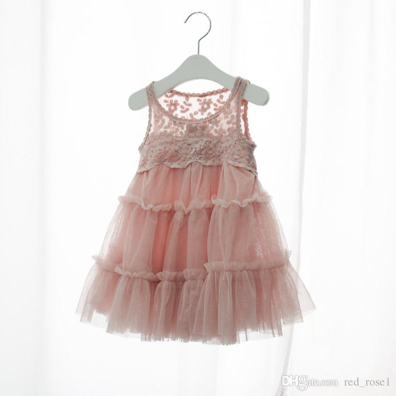 2018 2017 Baby Girl Kid Party Dress Girl Fungus Edge Lace