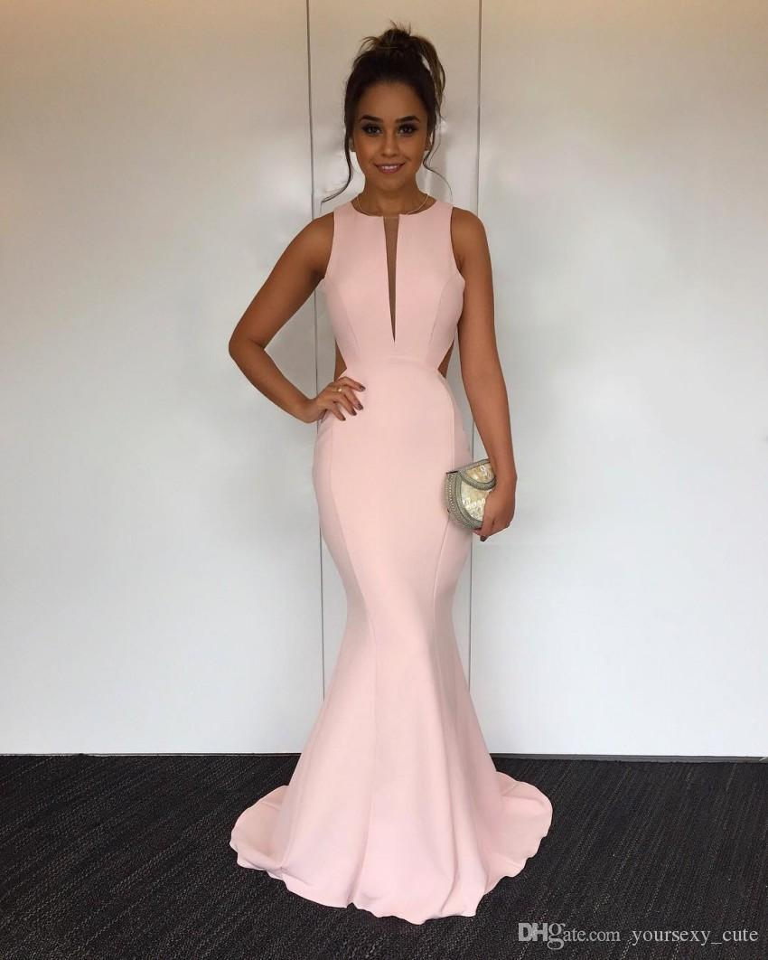 Cut Out Back Pink Mermaid Evening Dresses Jewel Neck Sleeveless Satin Backless Simple Concise Evening Gowns Elegant Prom Dresses