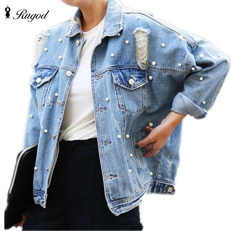 a5c1a5e3429 Wholesale- Pearls Beading Ripped Denim Jacket Women Single Breasted ...