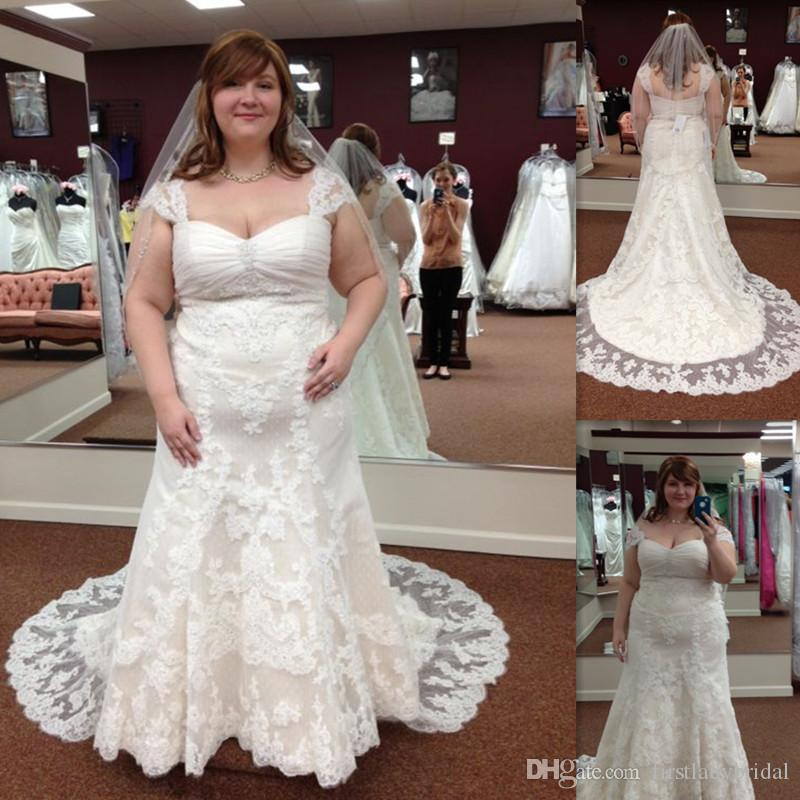 Plus Size Lace Wedding Gowns 2017 Cap Sleeve Mermaid Maxi