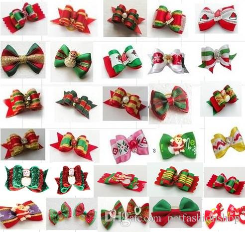 100pcs/lot Big Sale Christmas Pet Dog Hair Bows bowknot hairpin head flower Pet Supplies Grooming Holiday Dog Accessories Y11