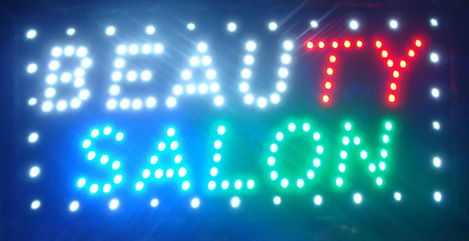 Ultra helle geführte Schönheitssalonzeichenanschlagtafel führte lebhaftes elektronisches lebhaftes geführtes Zeichen des Neonlichtes 10 * 19 Zoll Innen