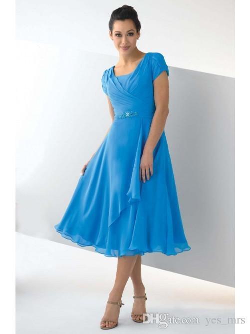 Nova mãe barata dos vestidos de noiva para mulheres Pescoço quadrado mangas curtas Comprimento do chá Chiffon Plus Size formal casamento vestido de convidado