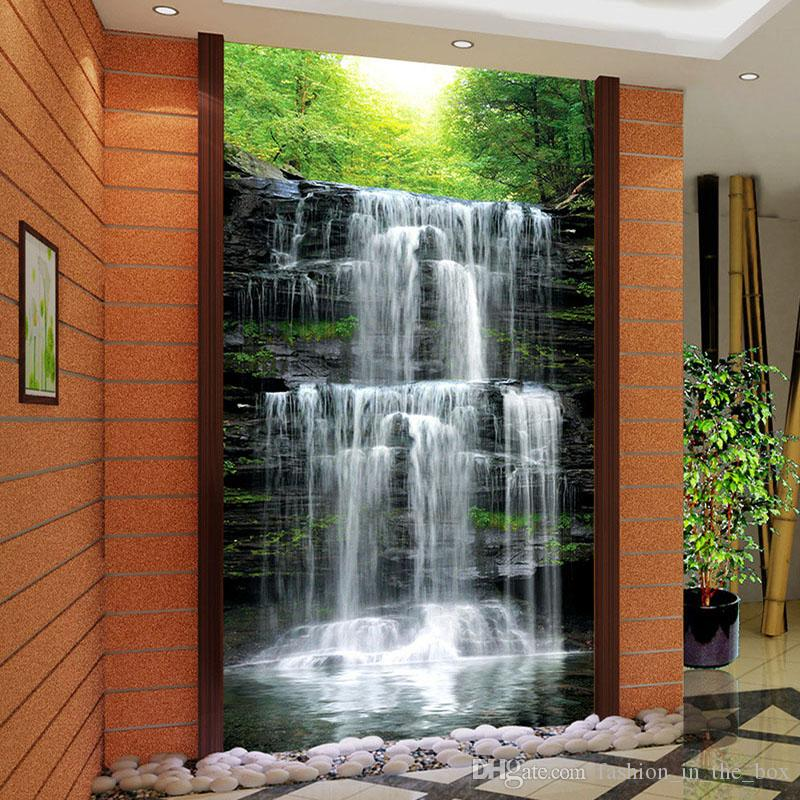 Custom 3d landscape wallpaper for walls 3d waterfall photo for 3d nature wallpaper for wall
