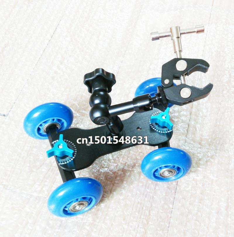 "7"" Articulating Magic Arm + Blue DSLR Skater Wheel Camera Truck Top Dolly + Super Clamp Kit"