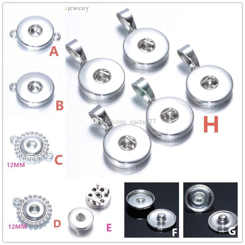 Molti stili in lega di metallo 18mm / 12mm Noosa Ginger Snap pulsante base risultati dei monili del pendente Accessori la collana del braccialetto pulsante fai da te