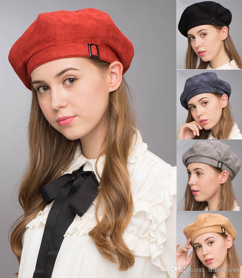 5ea09daf1fcf4 2019 Stand Focus Suede Beret French Beanie Painter Hat Cap Women Female  Artist Fashion Great Shape Cotton Newsboy Red Black Navy Camel Buckle From  ...