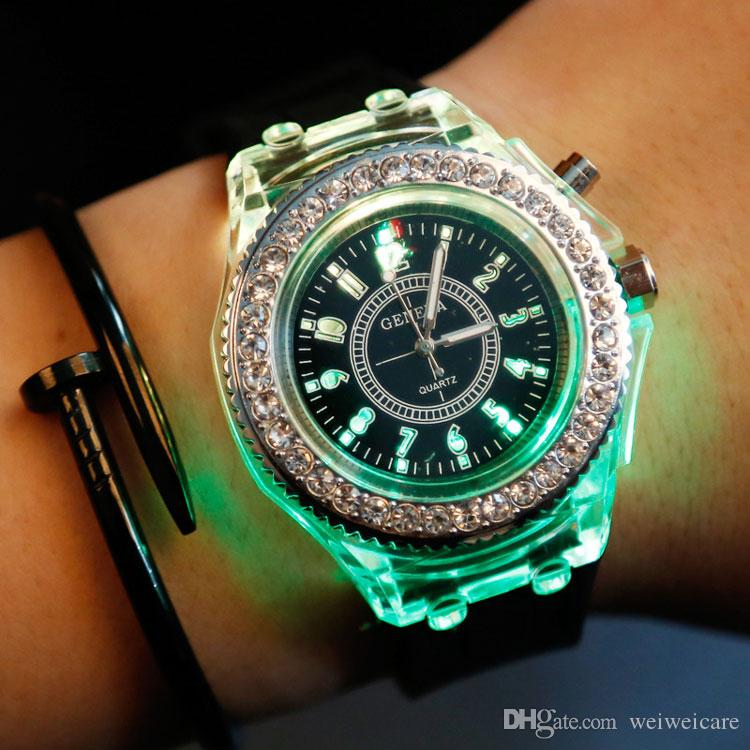 Women watches shining rhinestone luminescence night light led watch silicone strap analog quartz for Luminescence watches