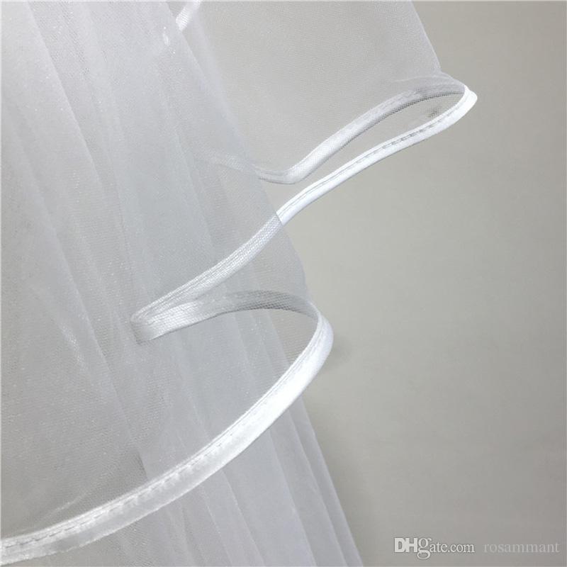 Nouveaux élégants deux couches 3m voiles de mariée tulle avec peigne ruban bord de voiles de mariage pas cher