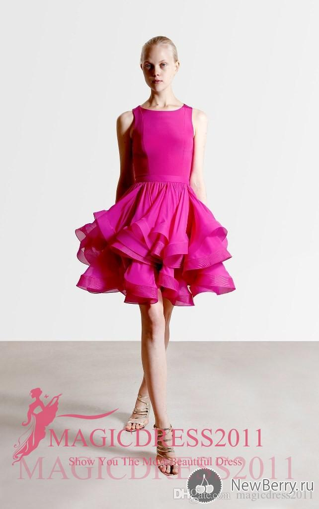 Gorgeous Hot Pink Short Cocktail Dresses REEM ACRA Jewel Tiered Skirts Sexy Mini Party Prom Dress A-Line Arabic Homecoming Gowns