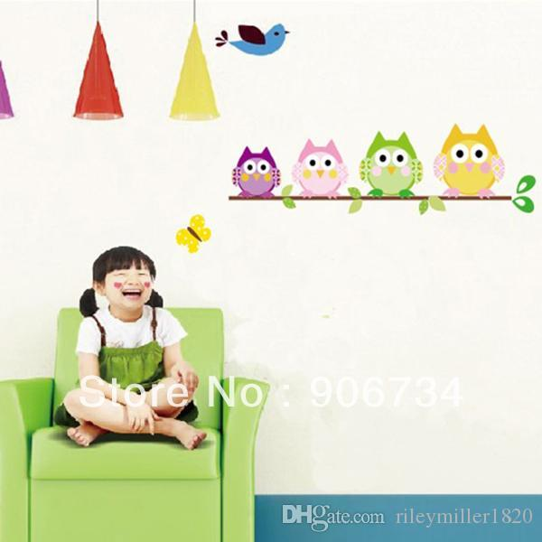 Wall Sticker Promotion Removable Vinyl Kid Room With Four Owl - Custom vinyl stickers for promotion