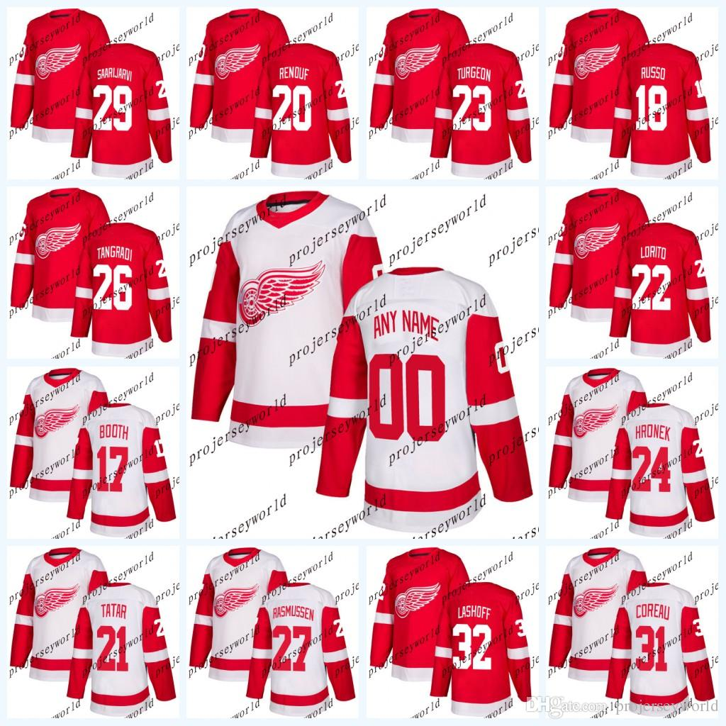 timeless design 010d9 c3ec2 Detroit Red Wings Jerseys Mens' 2017-2018 Season 17 David Booth 18 Robbie  Russo 20 Dan Renouf 21 Tomas Tatar Hockey Jerseys