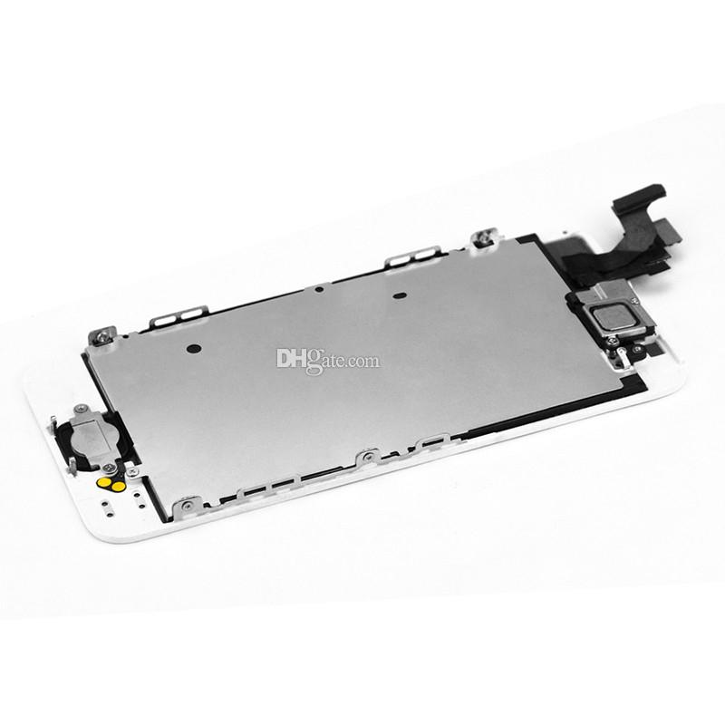 Full LCD Assembly For iPhone 5 5c 5s LCD Screen Display with touch Digitizer replacement + home button + LCD Metal Back Plate