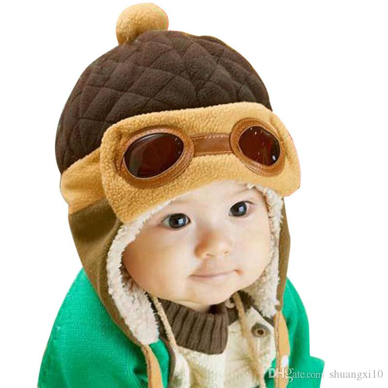 8758acbfb16dd Baby Pilot Hat Toddlers Kids Cool Aviator Winter Warm Cap for Baby Boy Girl  Infant Ear Flap Soft Hat Beanies