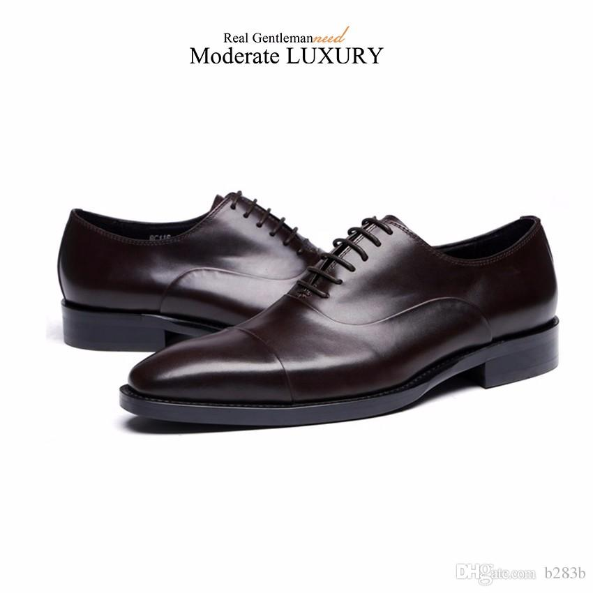 GRIMENTIN 2018 New Hot sale genuine leather dress mens oxfords shoes black brown formal business male shoes size:38-45 OX29