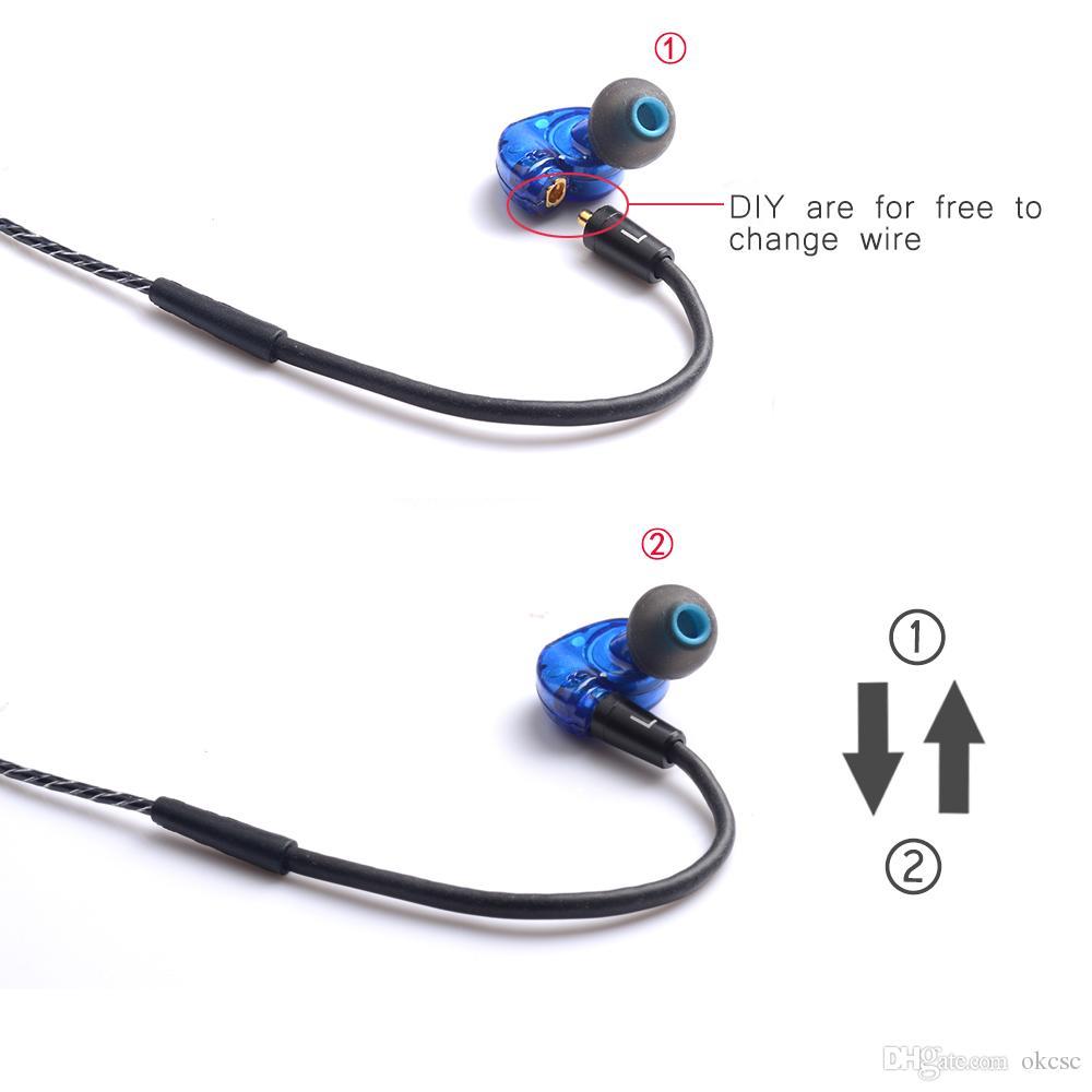OKCSC DD3 Hifi Hybrid Dynamic 1BA+1DD DIY Earphone Sport Headphones With Mic Natural Sound Can Change Cable