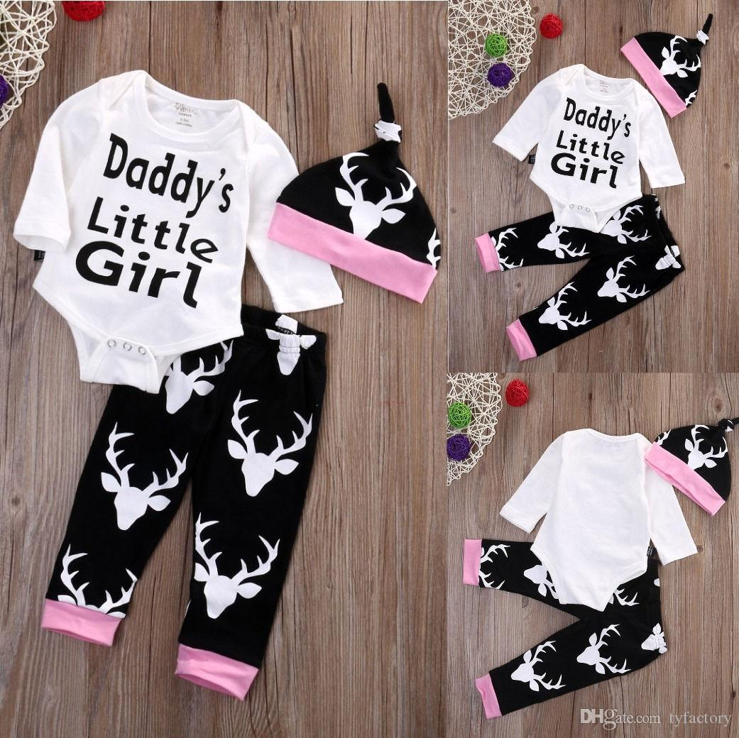 casual kids clothing Newborn Infant baby boys Girls Outfits daddy's little girl warm words print Romper+Long Pants+Hat toddler Clothes