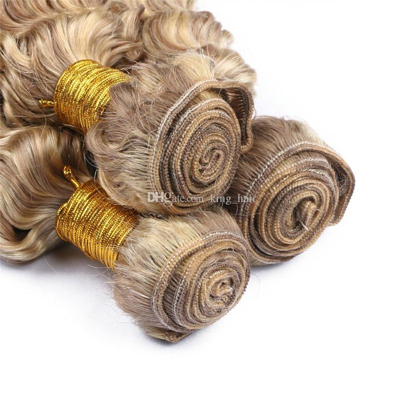 Color del piano 8 613 Extensión del cabello humano brasileño de onda profunda Color del cabello humano brasileño y rubio Ombre Cabello rizado profundo 3 paquetes