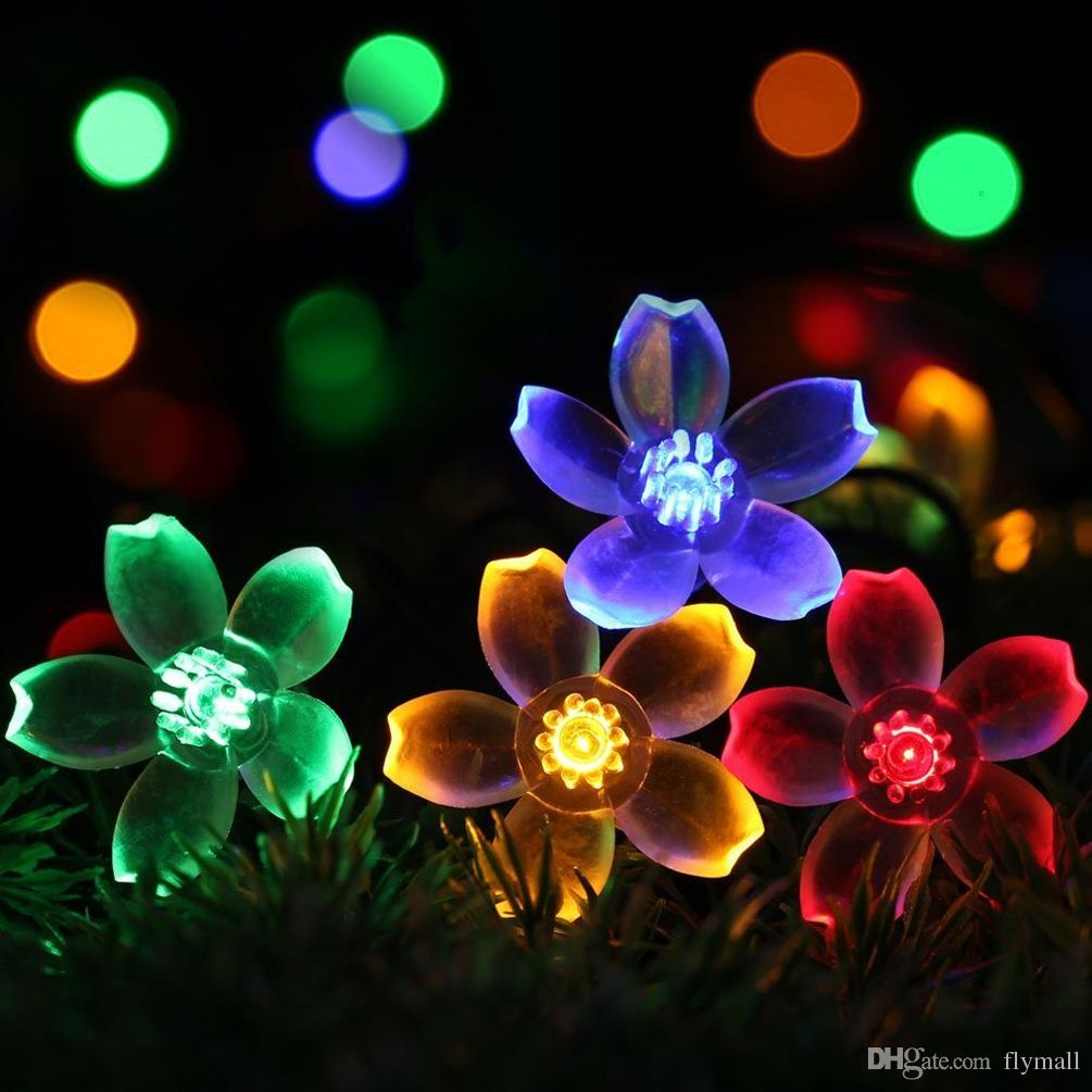 7M 50 LED Outdoor Solar Powered String Lights Flower Lamps 8 Modes 23ft Multi-color Waterproof Decorative Christmas Fairy Blossom Light