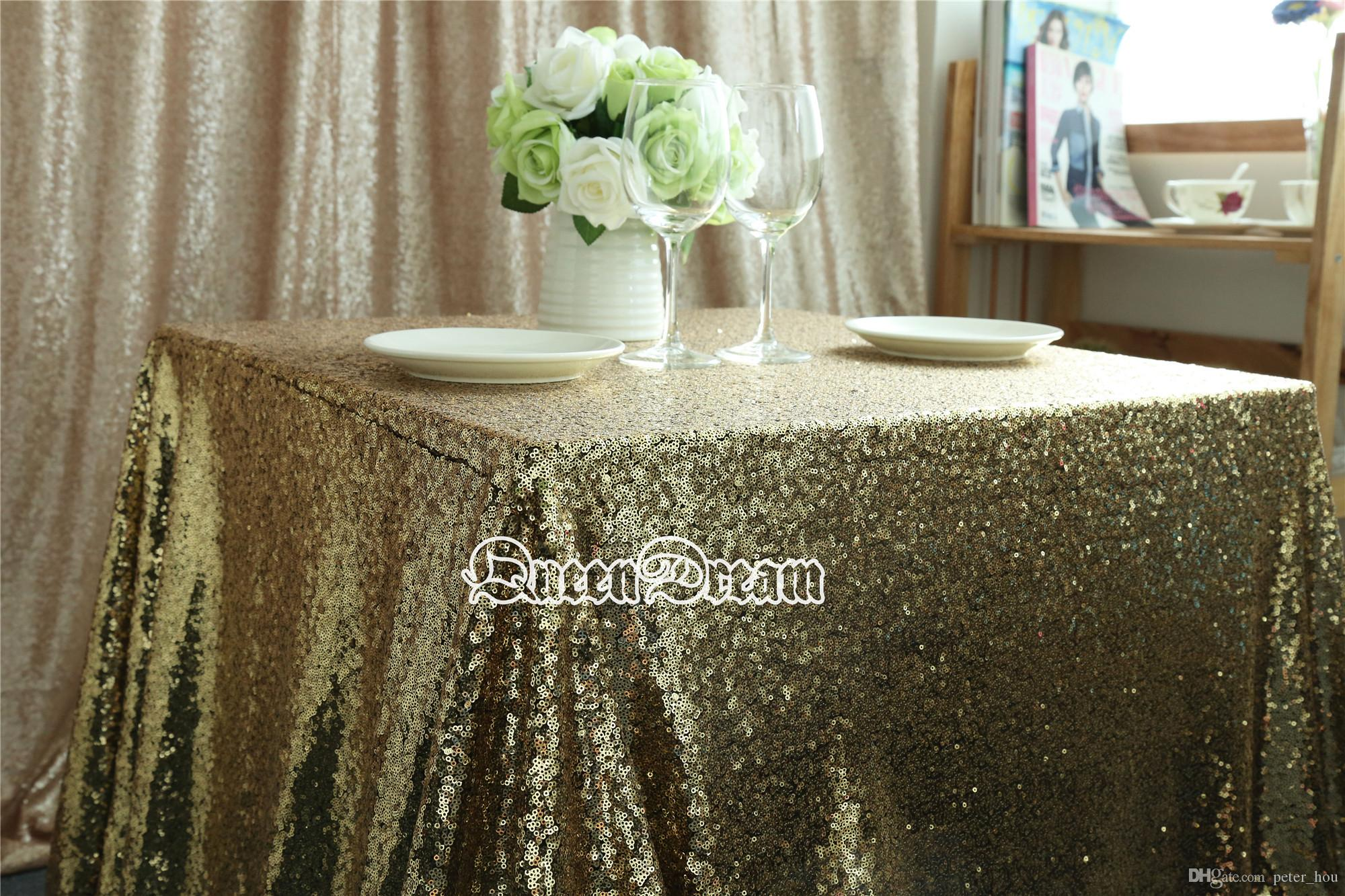 72 Inch Square Black Gold Sequin Tablecloths Cheap Sequin
