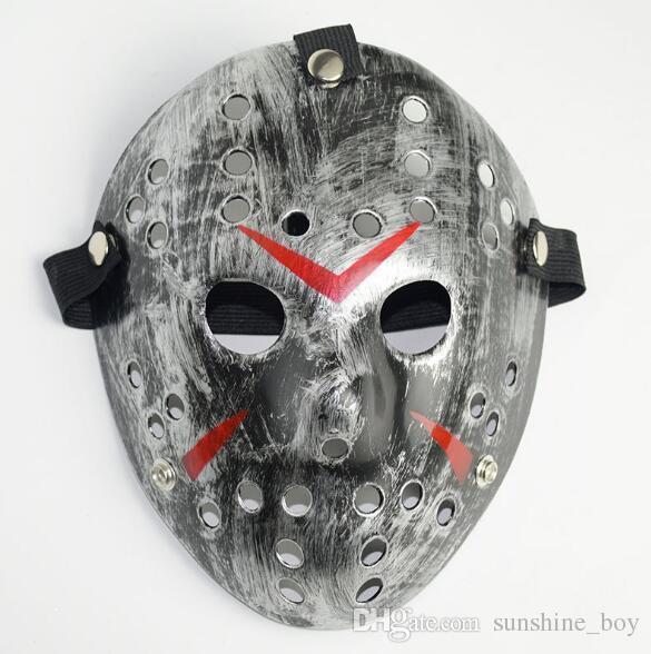 Schwarz-Rot Jason Maske Cosplay Full Face Killer Maske Jason vs Freitag Horror Hockey Halloween Kostüm Scary Maske kostenloser Versand