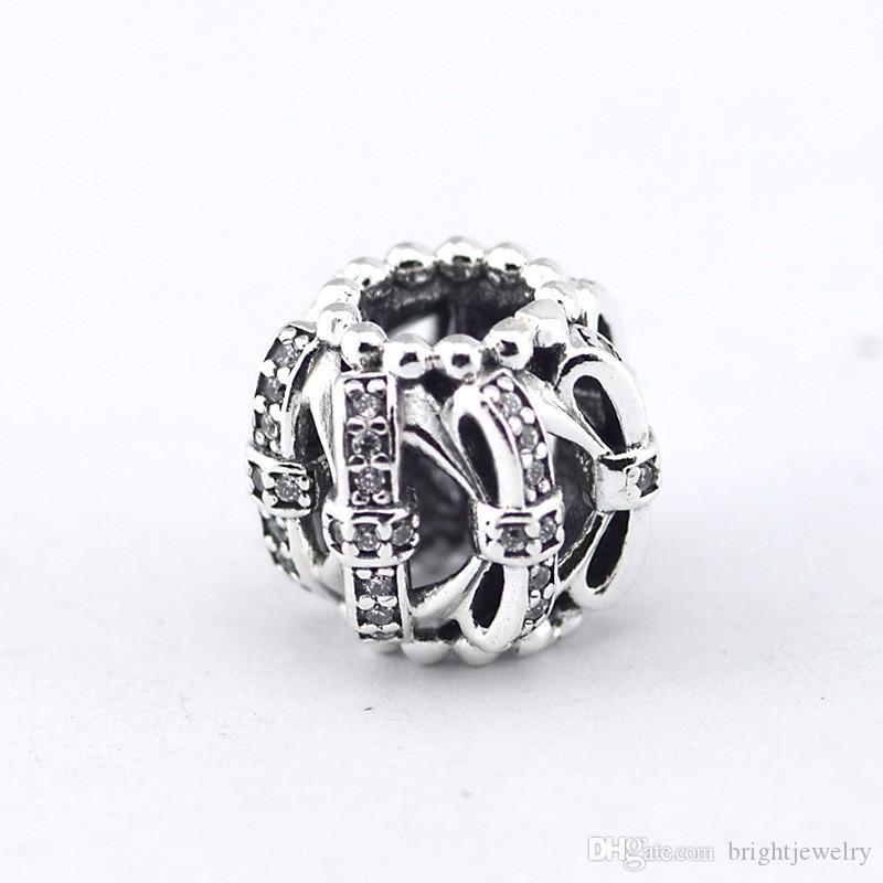 Serve para pandora charme pulseiras autêntica 925 grânulos de prata cubic zirconia a céu aberto arco nó charme diy jóias presente de natal
