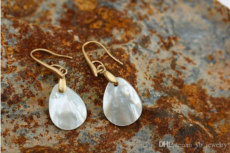 Women fashion natural shell earrings Delicate contracted teardrop-shaped earrings top quality factory direct supply