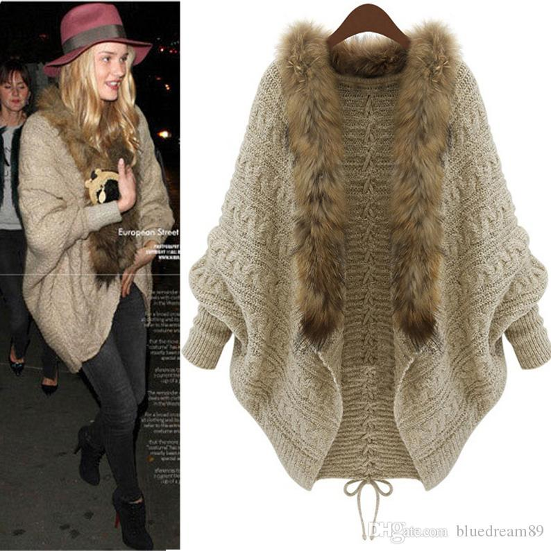 74783946972 2019 Korea Winter Fashion Coats Woman Autumn And Winter Loose Plus Size  Wool Coat Sweater Cloak Fur Collar Bat Overcoat Coats For Womens Jacket  From ...