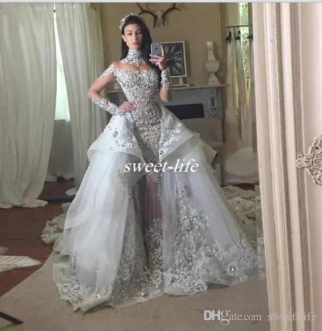 96e8f76350da Discount Luxury Crystal Wedding Dresses With Detachable Skirt High Neck  Long Sleeves Beaded Applique Silver Wedding Gowns Court Train Bridal Dress  Wedding ...