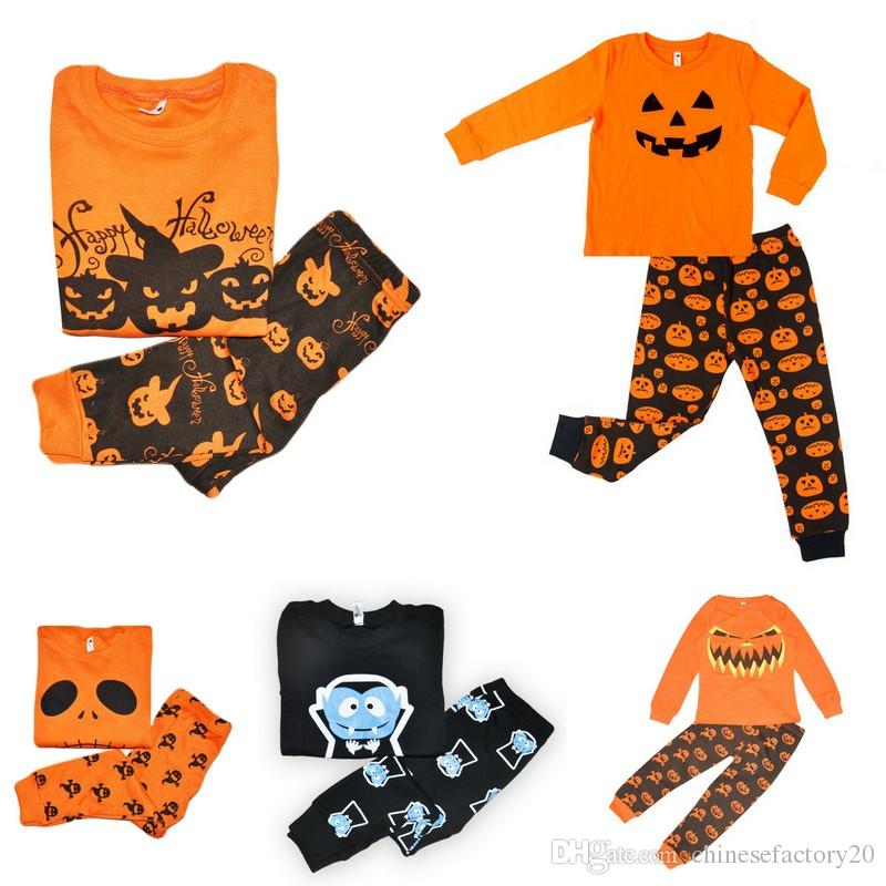 kids long sleeve t shirtpant boys girls pumpkin halloween costume sleepwear clothing sets toddler pajamas infant playwears matching pajamas for kids little