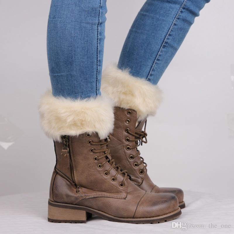 Yeni Bayan Örgü Boot Çorap Taklit Kürk Trim Bacak Isıtıcı Kış Tayt Isınma Örme Ganimet Çorapları Ayak Kapak ücretsiz kargo