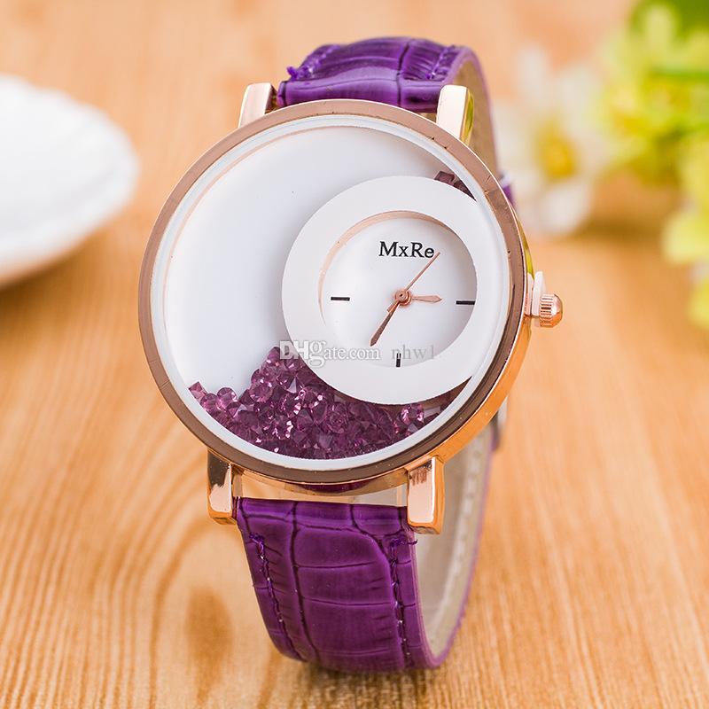 2016 top brand luxury PU Leather Quicksand Rhinestone clock women Quartz Watch womens watches orologi donna