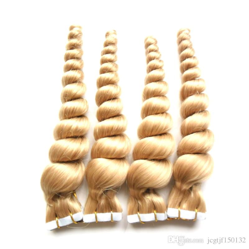 Bleach Blonde Tape in Human Hair Extensions Top 8A Brazilian Virgin Hair 80 pieces 7A 200g loose wave Skin Weft Hair Extensions