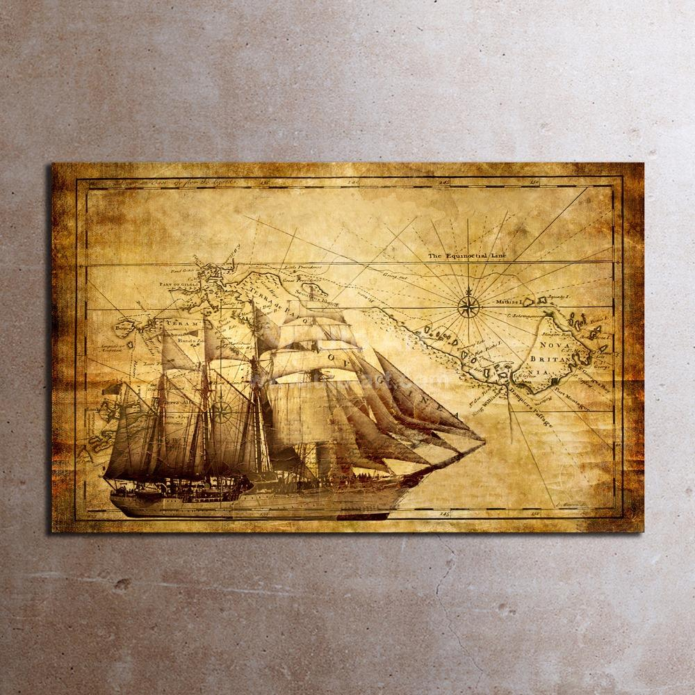 Classic Wall Art Prints Painting World Map Canvas Art Home ...
