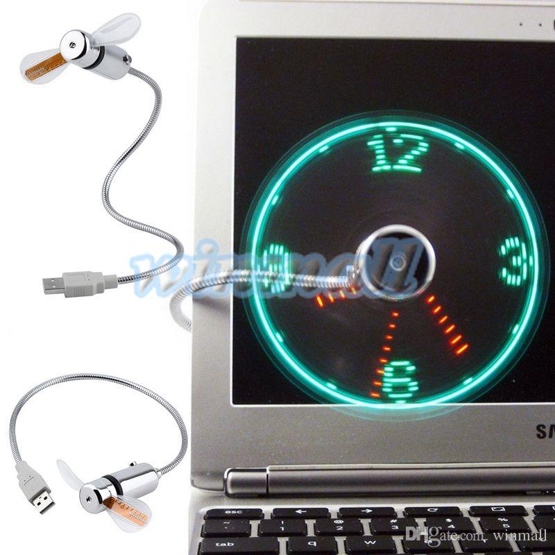 2016 mini ventilador flexible flexible ajustable del reloj del tiempo LED del artilugio USB del escritorio de oficina con la luz del LED