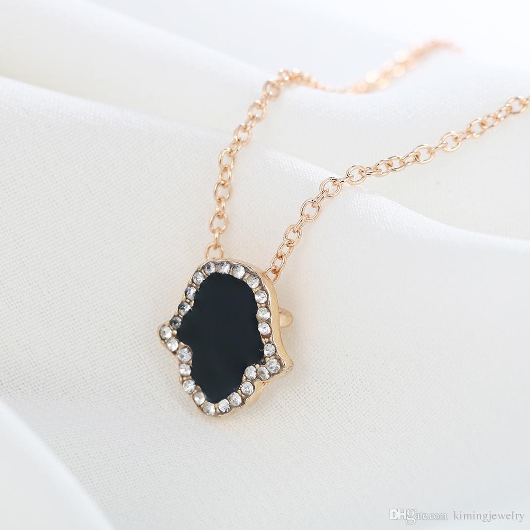 Classic hand of Fatima Hamsa Necklace Brand Jewelry Best Friend Pendants Long Chain Palm Statement Jewelry Wholesale