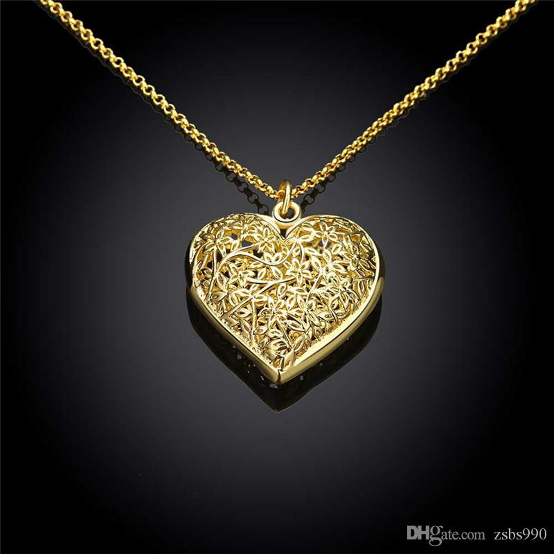 Hot 18K gold plated hollow heart pendant necklace fashion jewelry Valentine's Day gift for woman good quality and low price wholesale