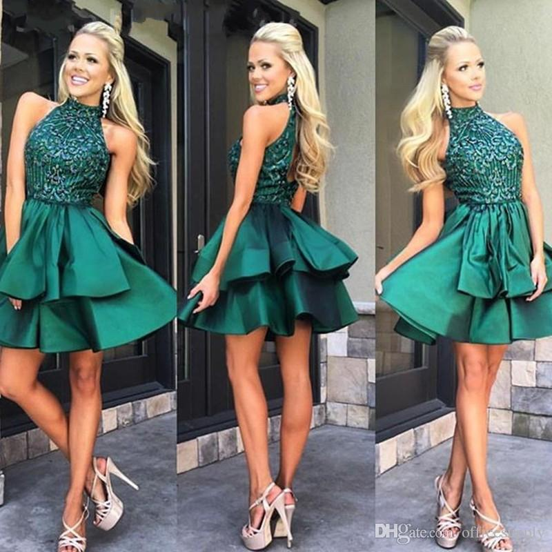 2018 Custom Made Emerald Green Short Prom Dresses High Neck Beaded Satin Mini Homecoming Dresses Charming Cocktail Party Dress