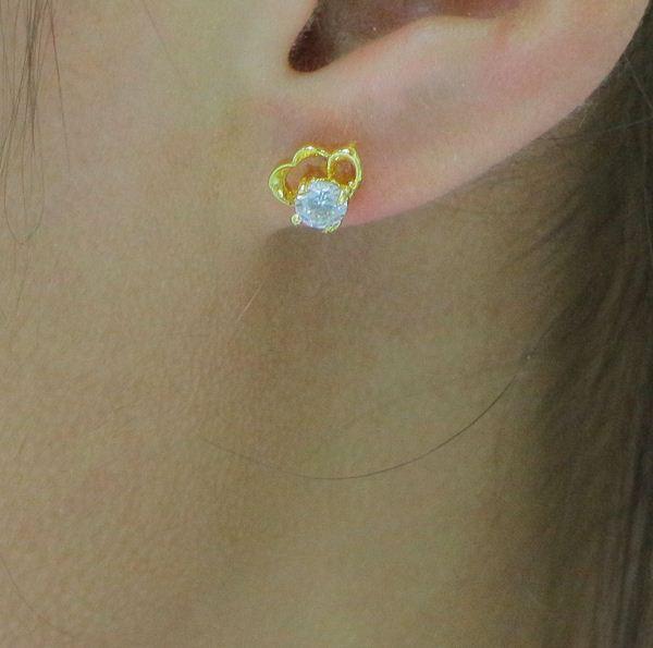 Solmaya hipoalerjenik altın beyaz kristal elmas küpe ve süper flaş kulak 24 K altın kaplama küpe takı