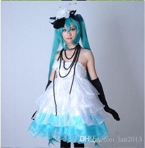 Ücretsiz Kargo! VOCALOID Hatsune Miku Cosplay Beyaz Elbise Kamelya Kısa Abiye Abiye Cosplay Kostüm Ile Kolye