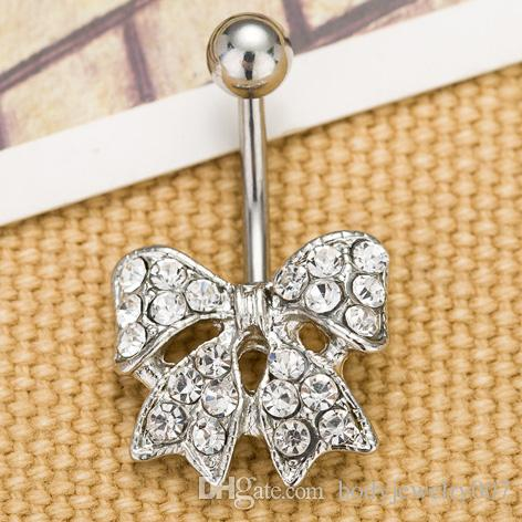 D0028 ( 1 color ) piercing jewelry Newest bowknot style navel belly ring 10 pcs clear color stone drop shipping