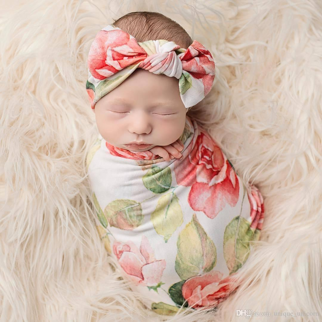 2018 cute newborn baby vintage floral bow knot headband swaddle blanket burp wrapped photograph props satin baby blankets blankets for newborns from