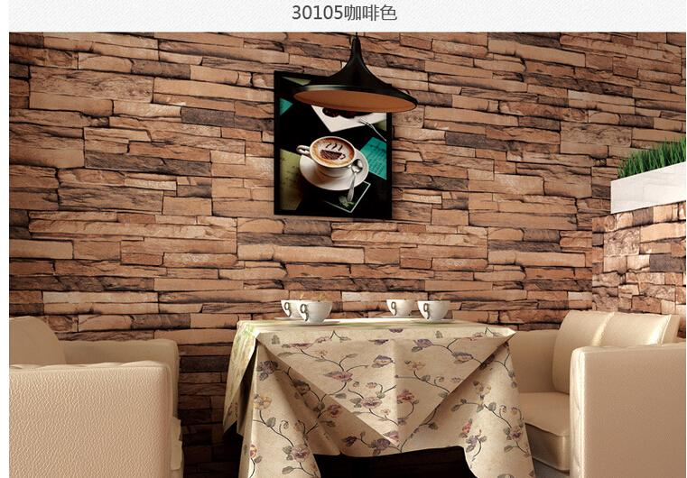 Hot D Luxury Wood Blocks Effect Brown Stone Brick M Vinyl - 3d brick wallpaper living room