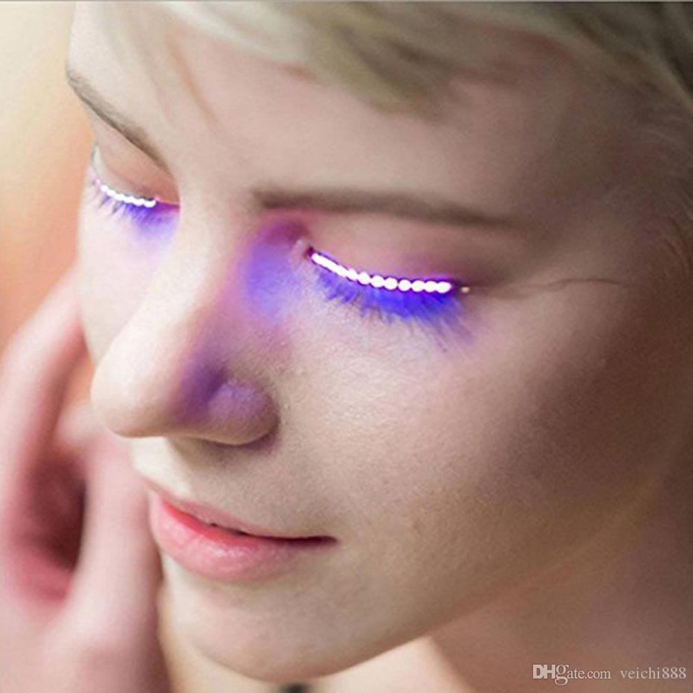 LED False Eyelashes Light Eye Glow Halloween Waterproof Natural Unisex For Party Saloon Pub Club Bar Fashion Makeup Tool