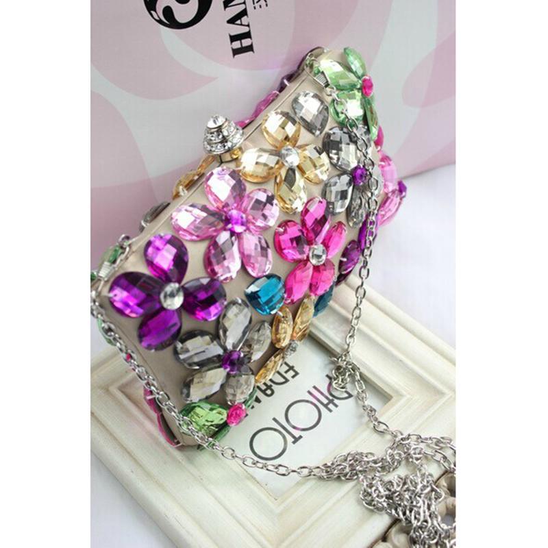 Fashion Female Hand Stitch Diamond Floral Evening Bag Tower Clasp Crystal Flower Handbag Purse Wedding Party Bag Messenger With Chain